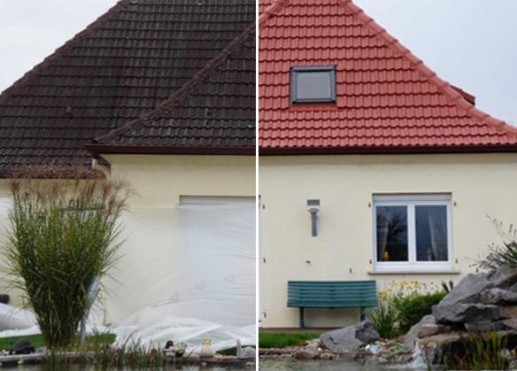 gevel van huis voor en na